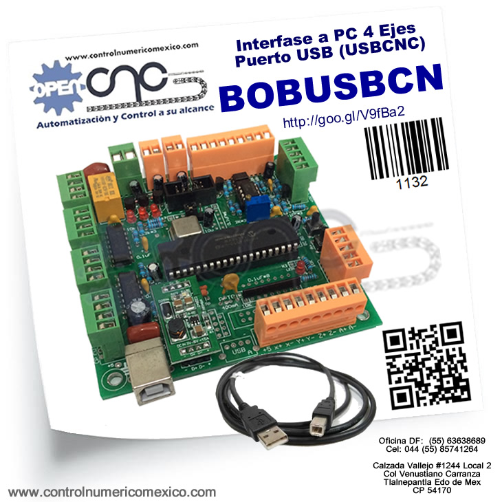 Interfase a PC 4 Ejes Puerto USB (USBCNC)